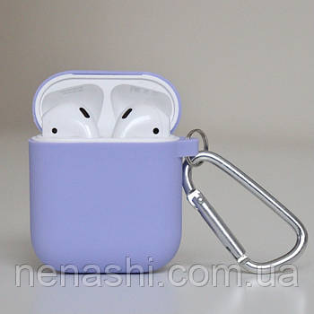 Чехол силиконовый для беспроводных наушников Apple AirPods с карабином Светло-фиолетовый