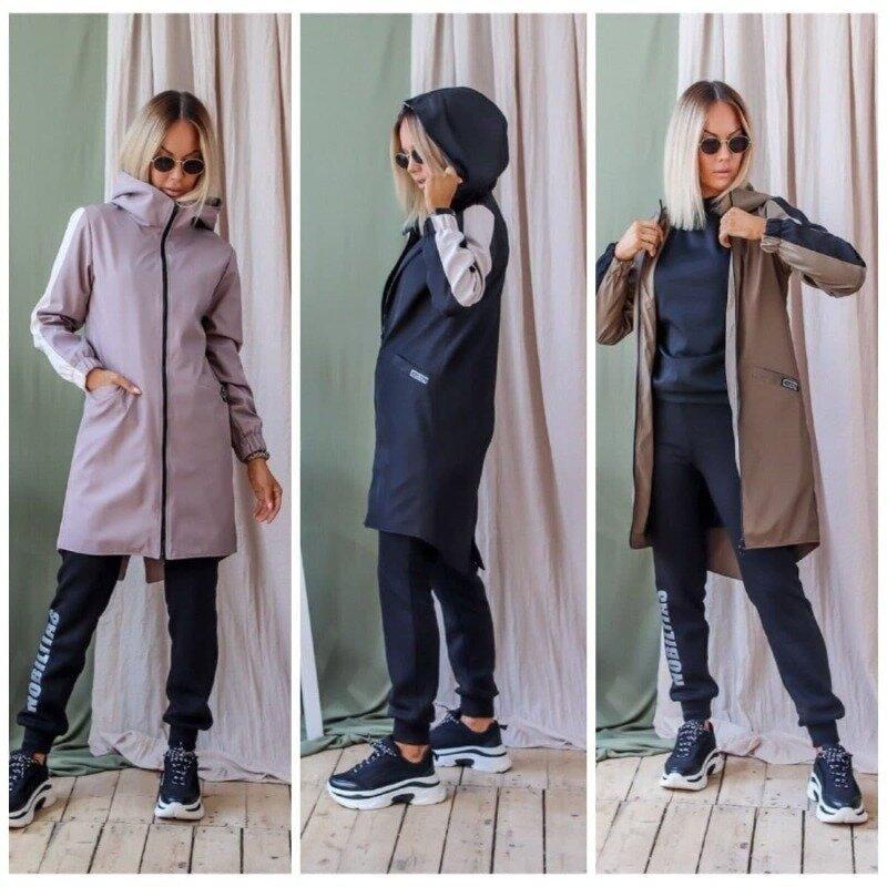 Трендовый женский плащ демисезонный длинный спортивного стиля с карманами по бокам воротник стойка