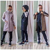 Трендовый женский плащ демисезонный длинный спортивного стиля с карманами по бокам воротник стойка, фото 1