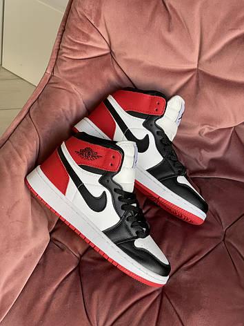 Модные кроссовки Nike Air Jordan, белые с черным/красным, фото 2