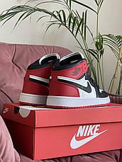 Модные кроссовки Nike Air Jordan, белые с черным/красным, фото 3