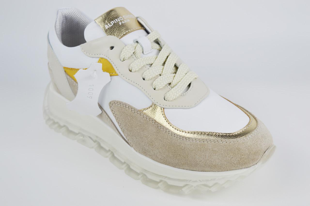 Кроссовки Alpino 1009 36 Бежевый + белый + золото