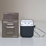 Чохол силіконовий для бездротових навушників Apple AirPods з карабіном Чорний, фото 2