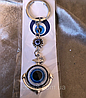 Брелок оберег Глаз Фатимы (Турецкий глаз) Серебряный якорь денежный, длина 12 см