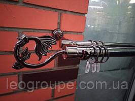 Карниз двойной кованый 25+19 черный никель Крокус-2,4м