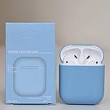 Чохол силіконовий для бездротових навушників Apple AirPods з карабіном Темно-блакитний, фото 2