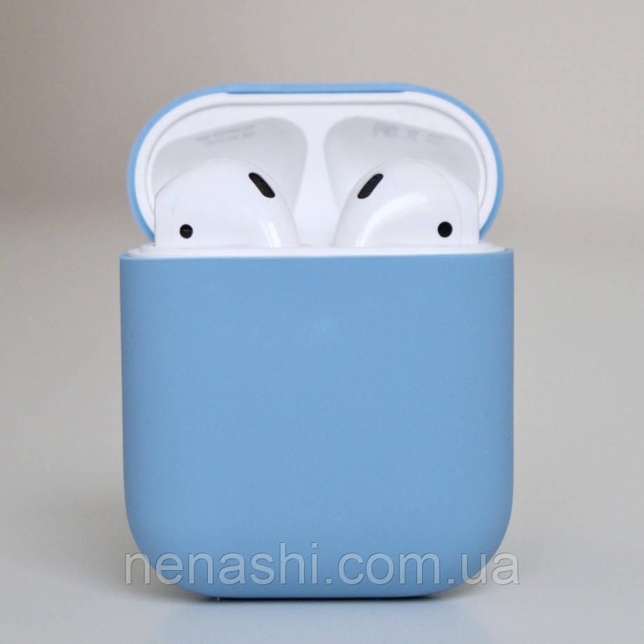 Чохол силіконовий для бездротових навушників Apple AirPods з карабіном Темно-блакитний