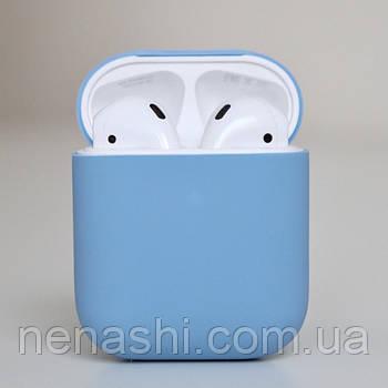Чехол силиконовый для беспроводных наушников Apple AirPods с карабином Голубой