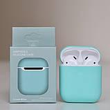 Чохол силіконовий для бездротових навушників Apple AirPods з карабіном Бірюзовий, фото 2