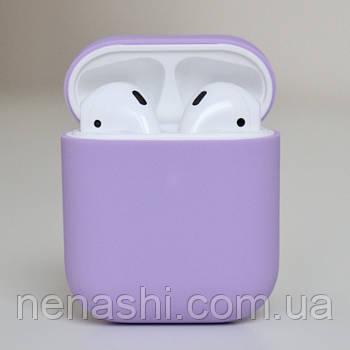 Чехол силиконовый для беспроводных наушников Apple AirPods Светло-фиолетовый
