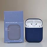 Чохол силіконовий для бездротових навушників Apple AirPods з карабіном Синій, фото 2