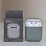Чохол силіконовий для бездротових навушників Apple AirPods з карабіном Сіро-зелений, фото 2