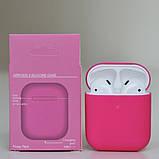 Чохол силіконовий для бездротових навушників Apple AirPods з карабіном Рожевий (фуксії), фото 2