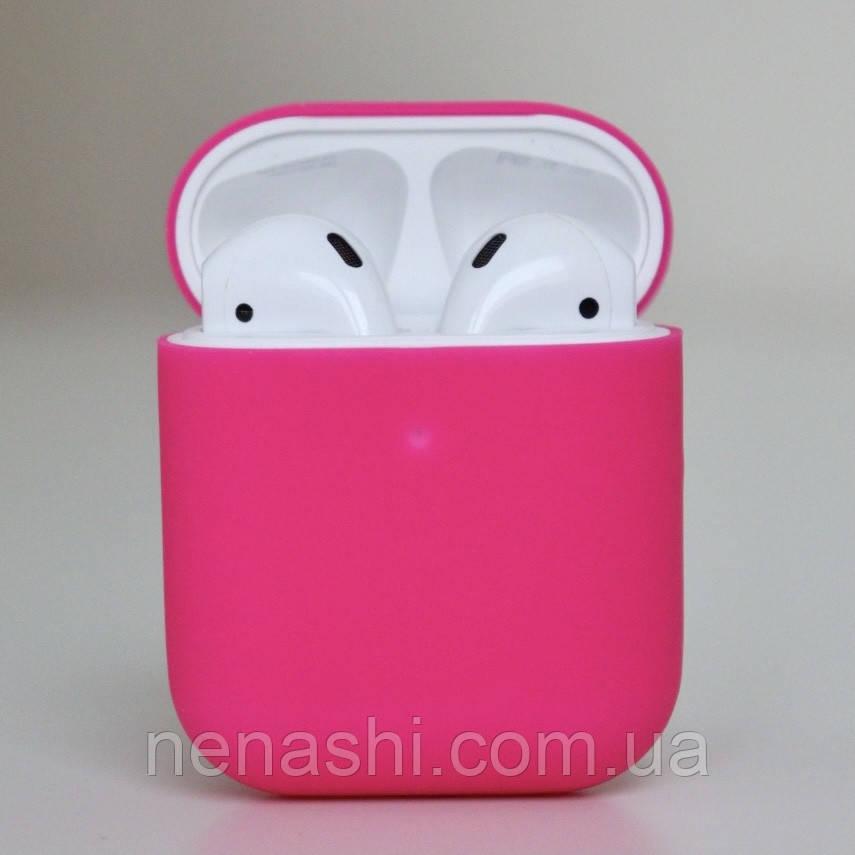 Чохол силіконовий для бездротових навушників Apple AirPods з карабіном Рожевий (фуксії)