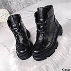 Жіночі демісезонні чорні черевики, натуральна шкіра, фото 6