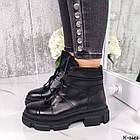 Жіночі демісезонні чорні черевики, натуральна шкіра, фото 5