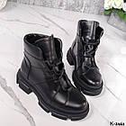 Жіночі демісезонні чорні черевики, натуральна шкіра, фото 7