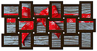 Мультирамка из дерева на 18 фото, коричневая (шоколад).