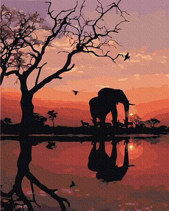 Картина по Номерам Слон на закате 40х50см RainbowArt, фото 2