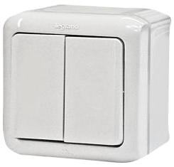 Выключатель 2-клавишный Forix IP44 белый