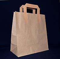 Пакет бумажный эко крафт с плоскими ручками 260*250*115