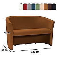 Прямой диван коричневая экокожа Signal TM-2 для двух человек в современном стиле