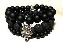 Мужские браслеты из Шунгита и Лавы натуральный камень, Сет браслетов мужской \ Sbm - 0001