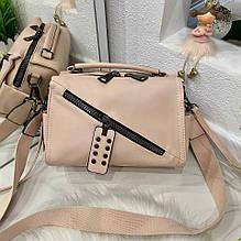 Женская сумка Spring с двумя ремешками пудра СВД47