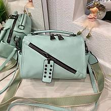 Женская сумка Spring с двумя ремешками ментоловая СВД48