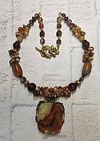 У подарунок жінці намисто з оніксу і бурштину, фото 1