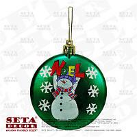 """Зелёная новогодняя игрушка на елку """"Снеговик"""""""
