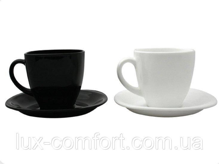 Сервіз Luminarc CARINE Blanc&Noir 220X6 для чаю (D2371)