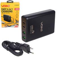 Мережевий зарядний пристрій VOIN 100W, 2 USB QC3.0 + 2 TYPE C (LC-10048 Bk)