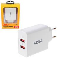 Мережевий зарядний пристрій VOIN 36W, 2USB QC3.0 (3.6 V-6.5 V*3A, 6.5 V-9V*2A, 9V-12V*1.5 A) (LC-36523 W)