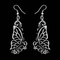 Длина серег со швензой 6,6 см. Ширина декоративного элемента 2,3 см. / Серьги Танец бабочек