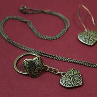 Розмір регулюється: 16-19 мм Розмір декоративного елемента 2,1х2,5 см / Кільце Серце мале (бронза)