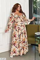 Женское длинное платье на запах .цветочный принт в больших размерах