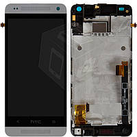 Дисплейный модуль (дисплей + сенсор) для HTC One mini 601n, с передней панелью, белый, оригинал
