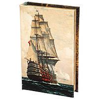 Книга сейф копилка для денег 26 см Линейный корабль
