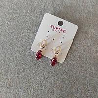 Серьги Xuping с красными камнями 7х28мм Позолота 18К