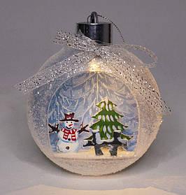 """Ялинкова куля LED 3D картинка """"Snow"""" 11х9,5х3,5см"""