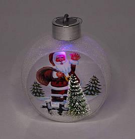 """Ялинкова куля LED різним кольором 3D фігура """"Дід Мороз у лісі"""" 11,5х9,5х6,"""