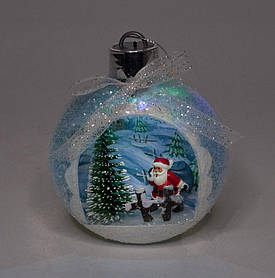 """Елочный шар LED разным цветом 3D фигура """"Дед Мороз"""" 11,5х9,5х3,5см"""