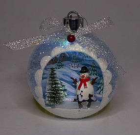 """Ялинкова куля LED різним кольором 3D фігура """"Сніговик в лісі"""" 13,5х11,5х7с"""
