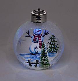 """Ялинкова куля LED різним кольором 3D фігура """"Сніговик"""" 11х9,5х6,5см"""