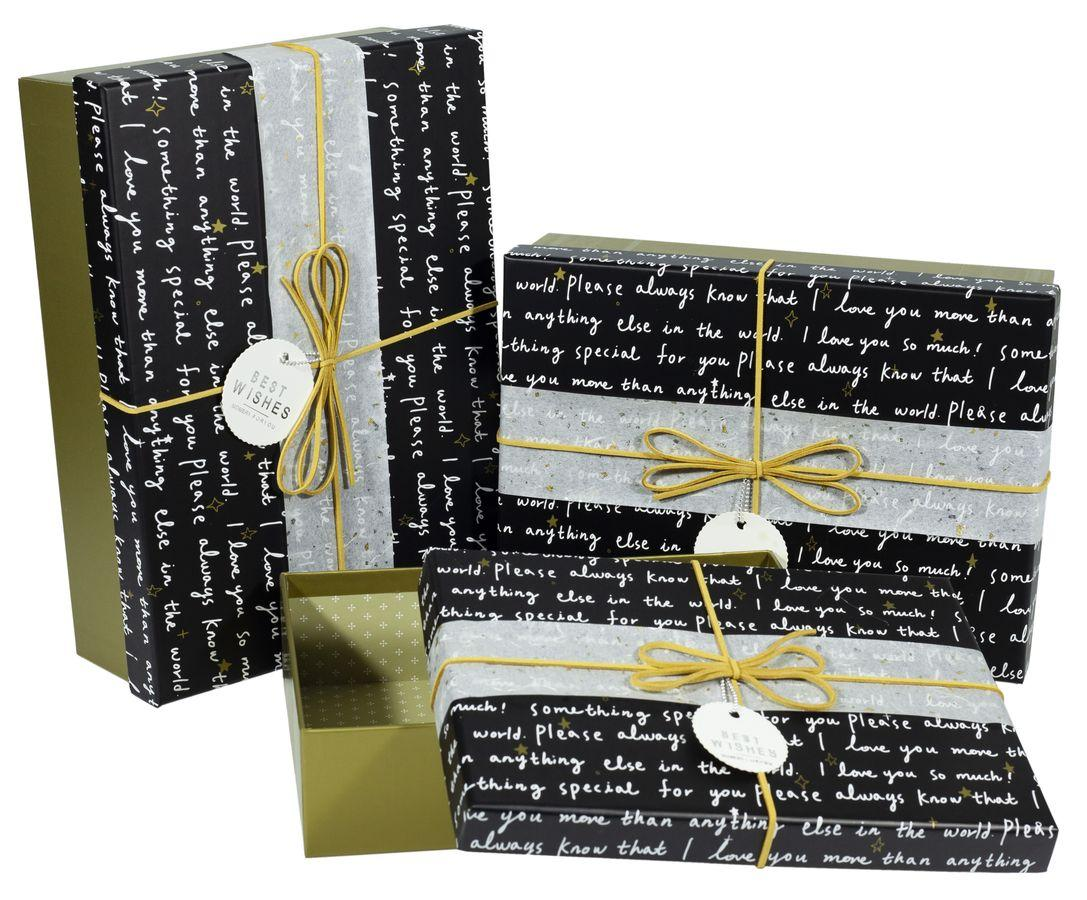 Коробки подарочные прямоугольные, в наборе -3шт., Unison, 08195-65