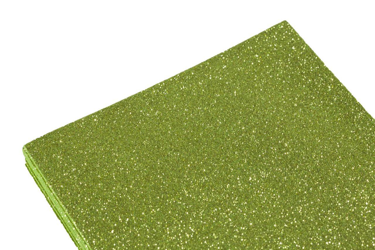 Фоамиран 2мм салатный с глитером (10листов)