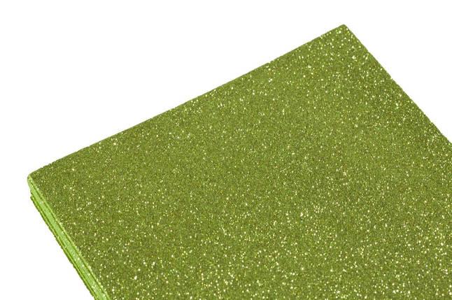 Фоамиран 2мм салатный с глитером (10листов), фото 2