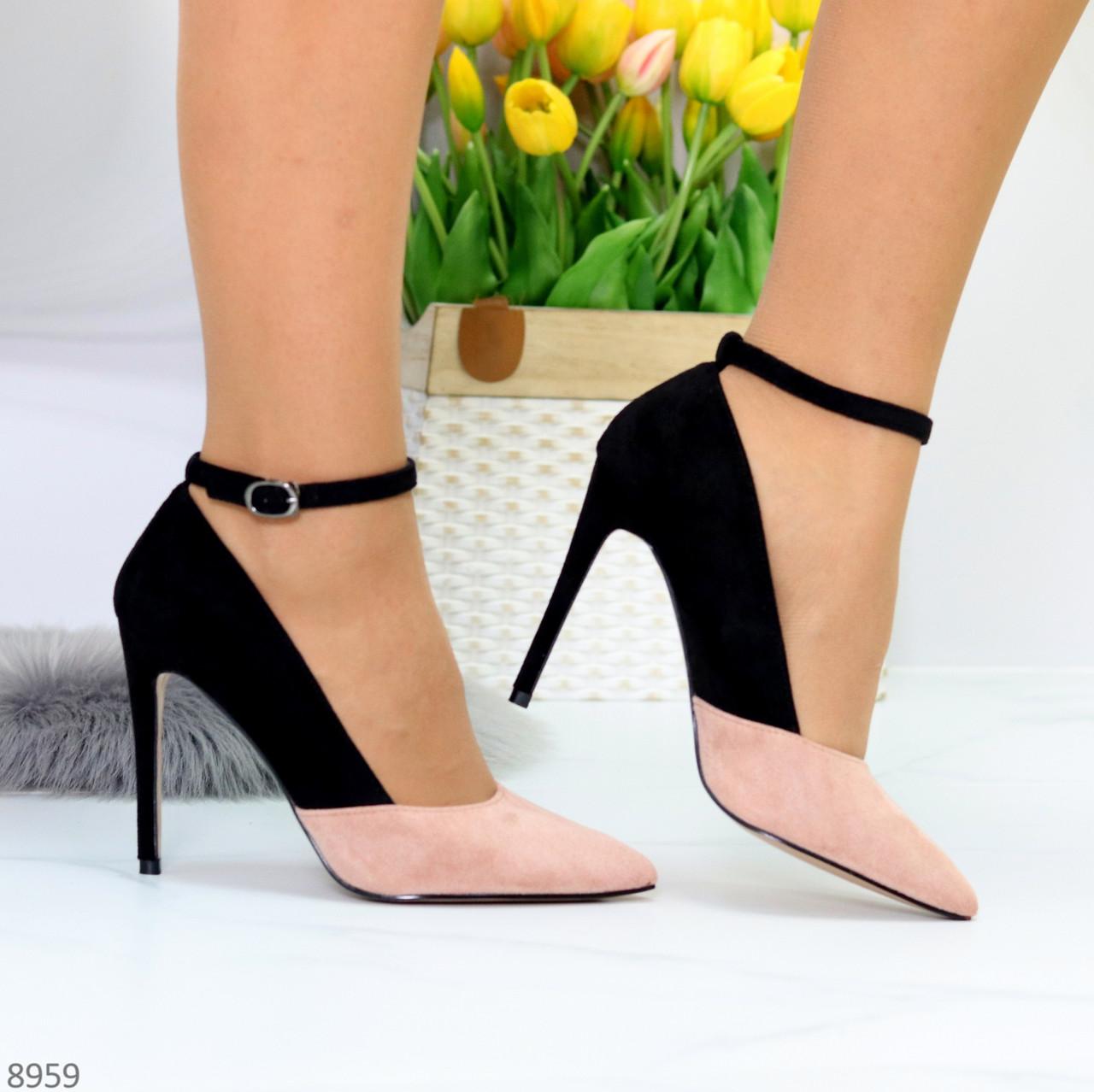 Элегантные черные розовые замшевые туфли на шпильке на ремешке шлейке