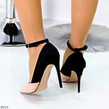 Элегантные черные розовые замшевые туфли на шпильке на ремешке шлейке, фото 2